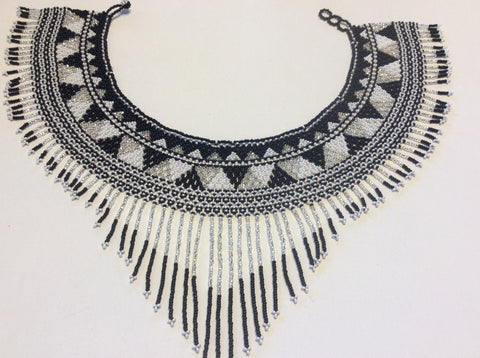 Ethnic style with a southwestern look hand beaded, collar necklace made in Santiago Atitlan.
