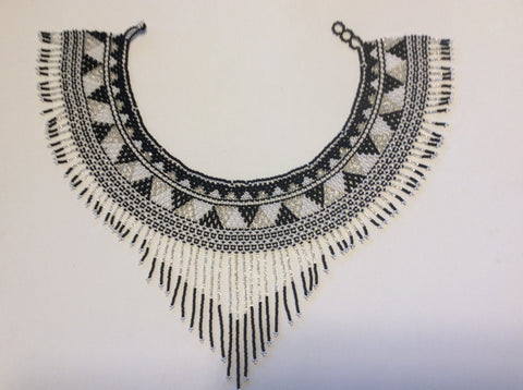 Ethnic style with a southwestern look hand beaded, collar necklace