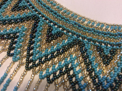 Gold, turquoise and iridescent beads collar/ bib style hand beaded necklace