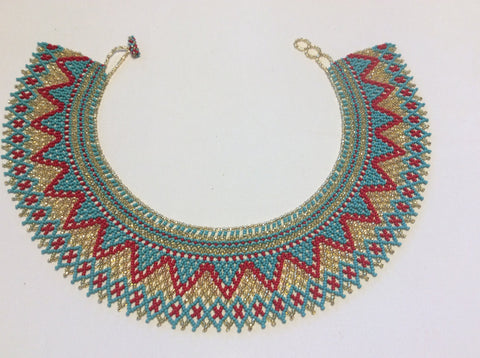 Turquoise, red coral and gold glass seed bead necklace. Hand beaded in Santiago Atitlan.