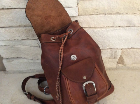 Handmade, chocolate brown, oil rubbed leather backpack
