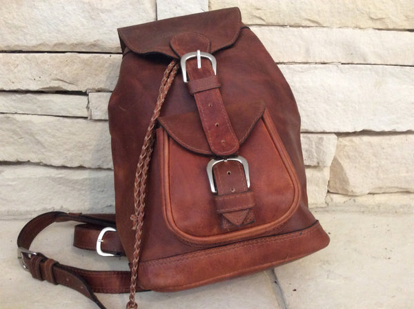 Handmade, chocolate brown, oil rubbed leather backpack.   Unisex.