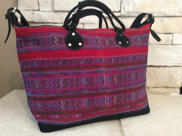 Brightly colored and detailed weaving was the yolk of the original huipil tote bag.