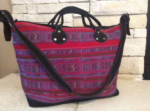Brightly colored and detailed weaving was the yolk of the original huipil tote bag