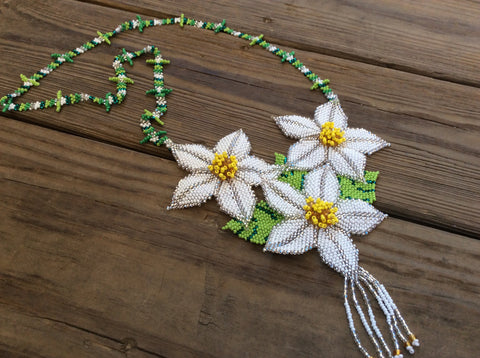 Classic Huichol, white, yellow, and green glass seed beads hand beaded necklace