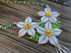 Classic Huichol, white, yellow, and green glass seed beads hand beaded necklace.