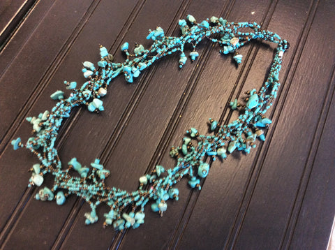 Turquoise and bronze seed bead necklace made in Santiago Atitlan Guatemala