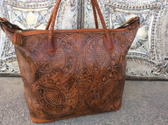 Hand braided top handles, hand tooled leather x large weekender