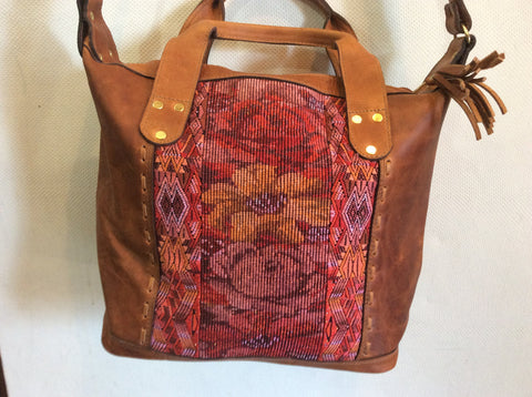 Top grain dark brown leather and handwoven fabric panels overnight bag/small weekender.