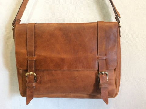 Gorgeous, top grain leather, oil rubbed by hand..UNISEX briefcase.