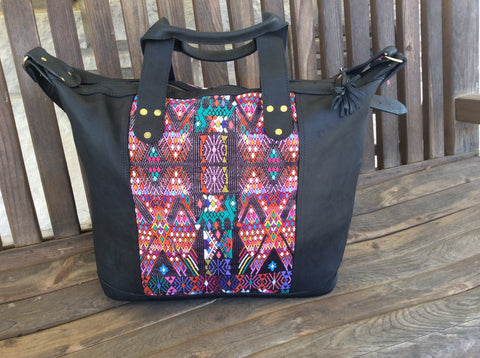 Handmade black leather bag with handwoven silk panel leather tote bag.