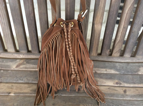 Hand braided, hand stitched, chocolate brown leather handmade nubuck leather fringed bucket bag