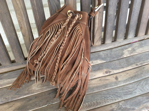 Hand braided, hand stitched, chocolate brown leather handmade nubuck leather fringed bucket bag.