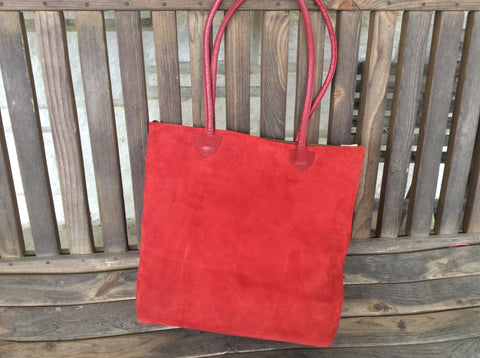 Vibrant RED nubuck hand laced leather tote.   Handmade leather shoulder bag.