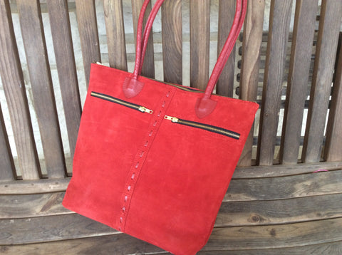 Vibrant RED nubuck hand laced leather tote