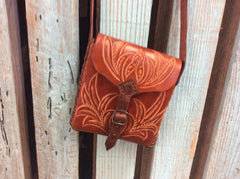 Brown leather shoulder bag hand tooled leather crossbody western purse.