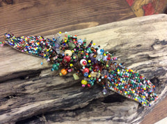 Multi colored, seed bead magnetic bracelet, hand beaded