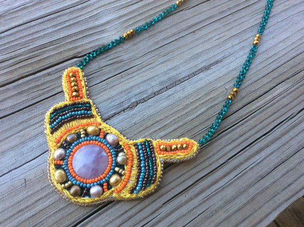 Boho necklace accented with pearls and Quartz, hand beaded in Guatemala.