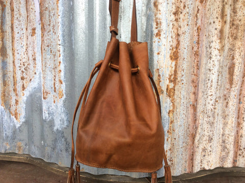 Top grain brown leather leather bucket bag handmade leather purse.