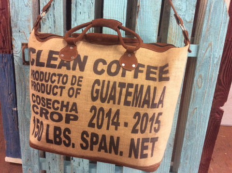 Hand made Guatemalan coffee bag large weekender, made from a burlap coffee  bag. Trimmed in nubuck leather.