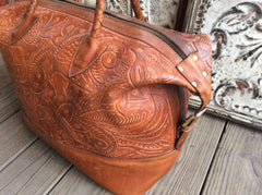 Top grain caramel color leather hand tooled leather hand made leather weekender