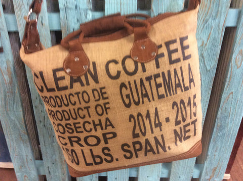 Leather handle burlap coffee bag tote. Hand made bag made in Guatemala