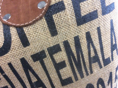 Leather handle burlap coffee bag tote