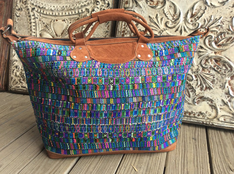 Original huipil  woven on a blackstrap loom Handwoven/Leather weekender.