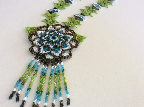 Hand beaded beautiful Huichol  seed bead necklace.