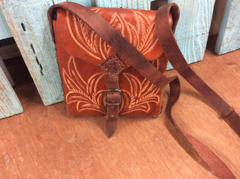 Brown leather shoulder bag hand tooled leather crossbody western purse