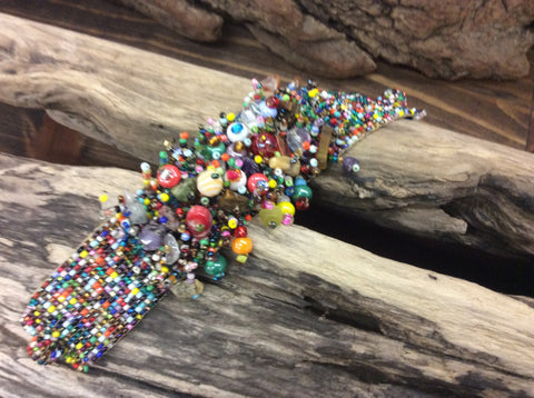 Multi colored, seed bead magnetic bracelet, hand beaded in Santiagp Atitlan Guatemala.