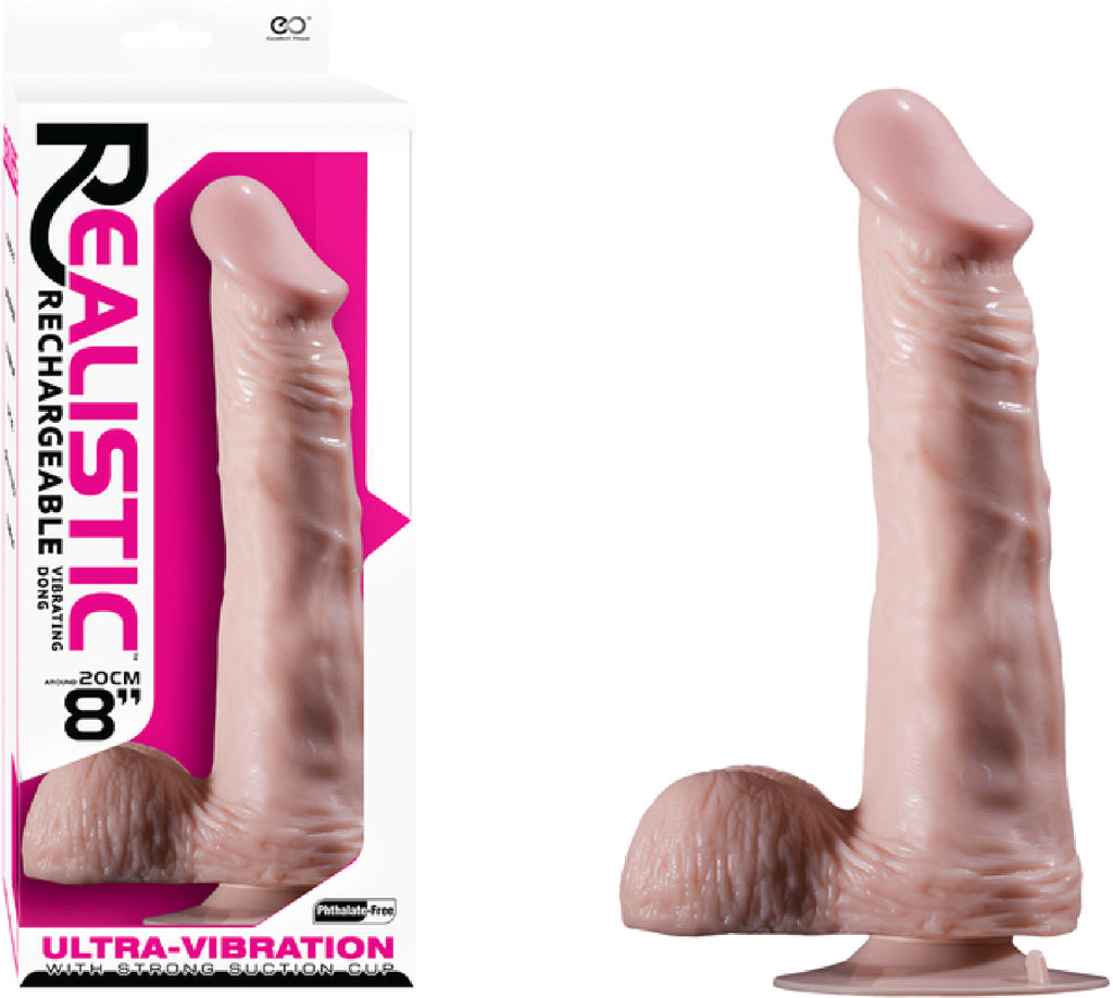 "8"" Vibrating Dong With Balls  (Flesh)"