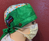 Scrub Cap With Button Option - Green Gardens