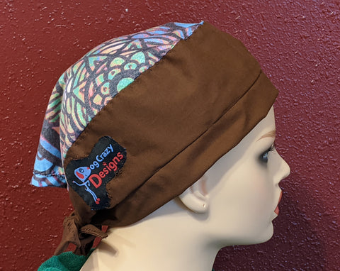Scrub Cap With Button Option - Multi-Color Bown