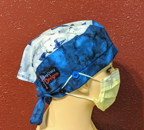 Scrub Cap With Button Option - Polar Bears