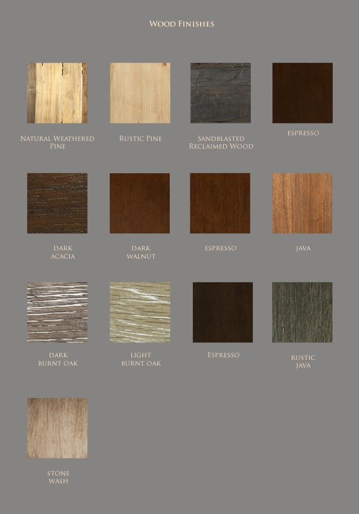 MUSH wood finish swatches