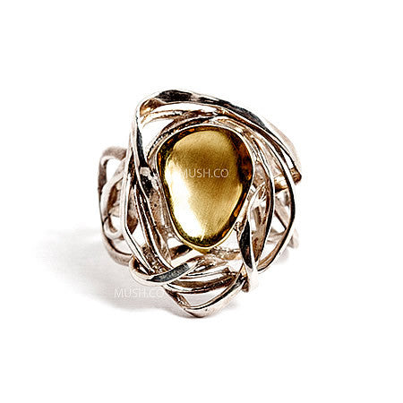 9k Gold Filled Sterling Silver flower ring with elaborate nature inspired flower design