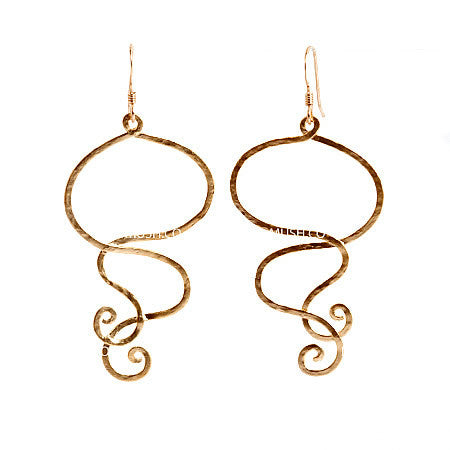 Winding Dangling 14k Gold Plate Earrlings in Sterling SIlver with Brushed Gold Finish