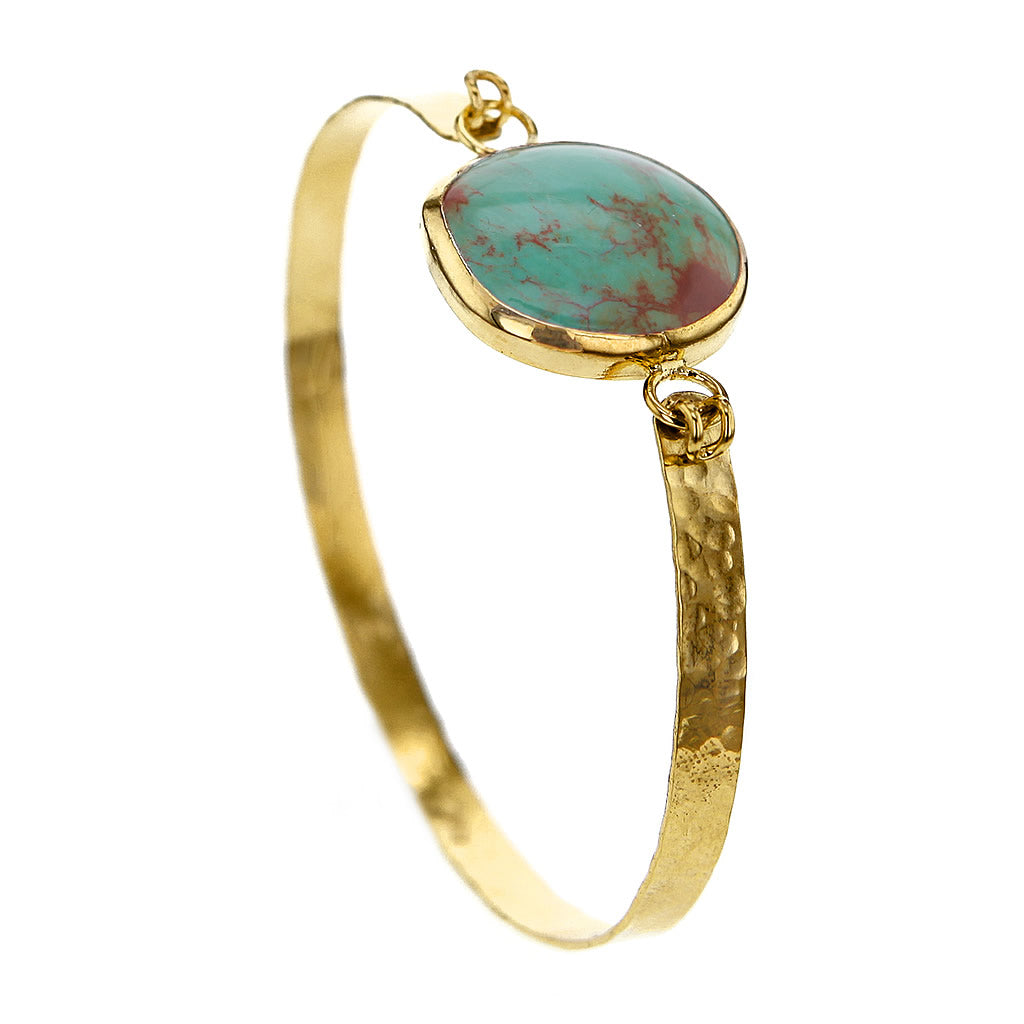 Round Turquoise Bangle Bracelet in hammered 14K Gold Plated Sterling Silver