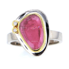 Sterling Silver Wedding Band with Pink Tourmaline & Diamonds in 24K Solid Gold Settting
