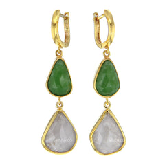 Faceted Emerald & Moonstone 2 Tier Earrings in 14K Gold Plated Sterling Silver