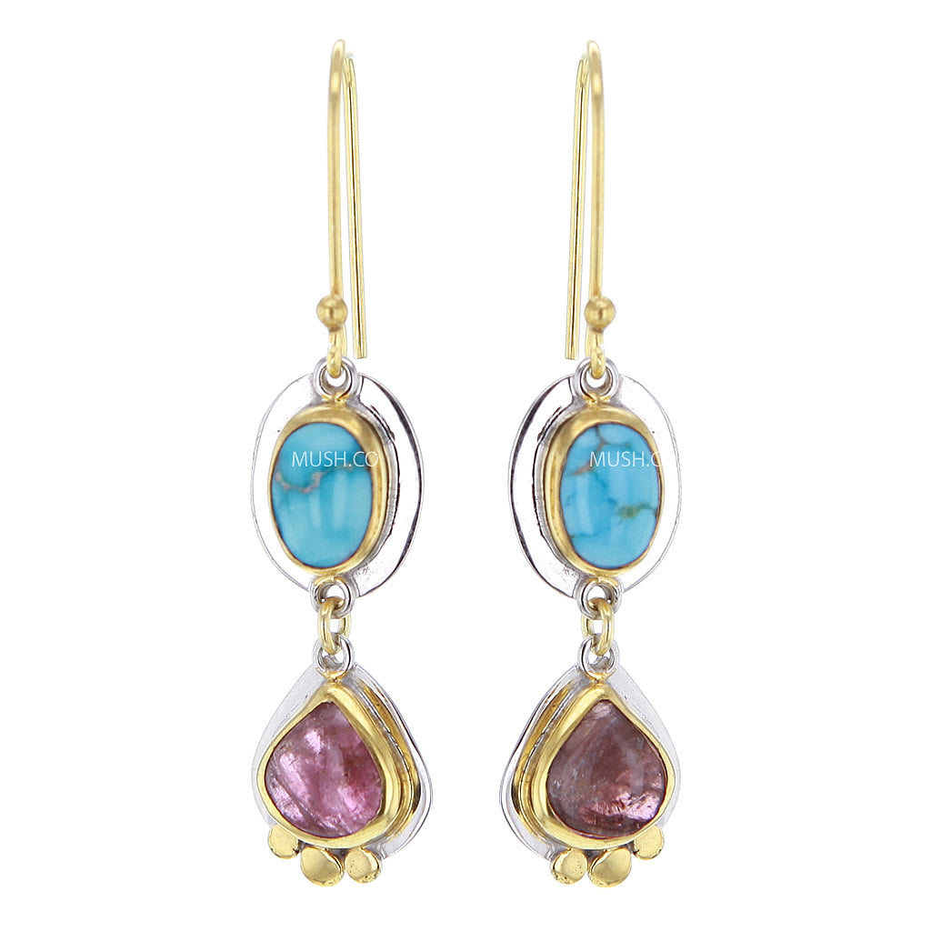 2 Tier Turquoise & Tourmaline Earrings in 14K Gold Plated Sterling Silver