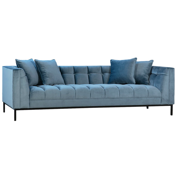 Bitosi Ribbed Velvet Upholstery Sofa in Light Blue with Black Legs