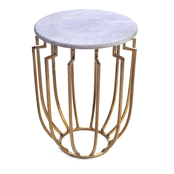 Hogan Brass and Marble Occasional Designer Round Table