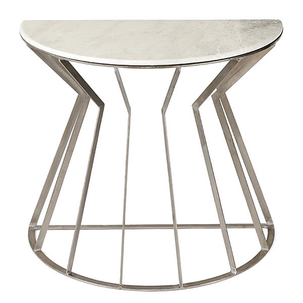 Adelaide Marble & Brushed Nickel Demi Loon Designer Side Table