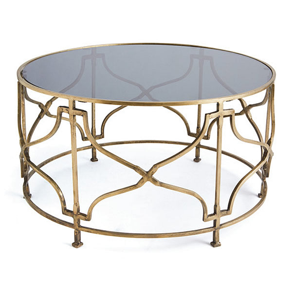 Bradley Modern Round Glass Top Coffee Table with Antiqued Brass Frame Hollywood