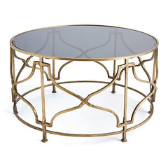 Bradley Modern Round Glass Top Coffee Table with Antiqued Brass Frame