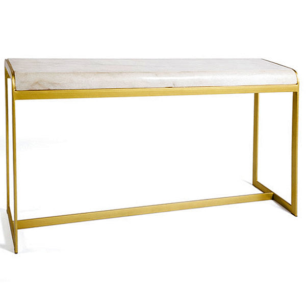 New Yorker Designer Marble Top Gold Tone & Iron Base Console Table