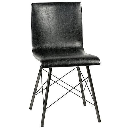Domenica Black Leather Chair in Bicast Leather Upholstery and Black Powder Coating