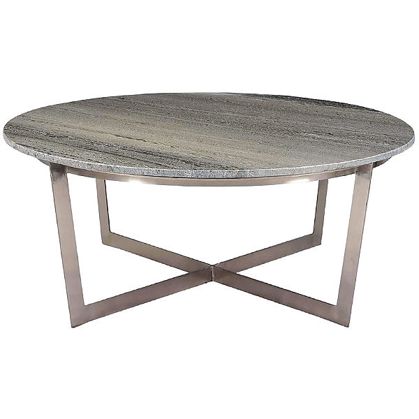 "Ronnie Round 39"" Gray Marble Top & Brushed Nickel Modern Coffee Table"
